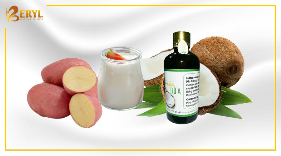 Làm đẹp da mặt bằng khoai tây, dầu dừa và sữa tươi