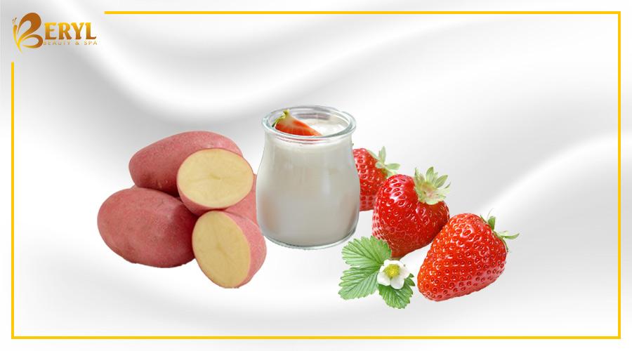 Làm đẹp da bằng khoai tây, sữa chua và dâu tây